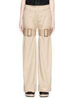 Strap cotton gabardine flare pants