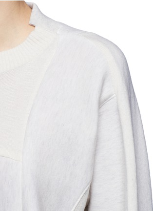 Detail View - Click To Enlarge - Sacai - Wool-cashmere patchwork cotton blend sweatshirt