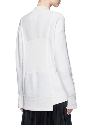 Back View - Click To Enlarge - Sacai - Wool-cashmere patchwork cotton blend sweatshirt