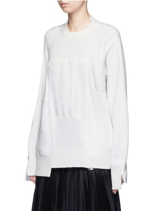 Front View - Click To Enlarge - Sacai - Wool-cashmere patchwork cotton blend sweatshirt
