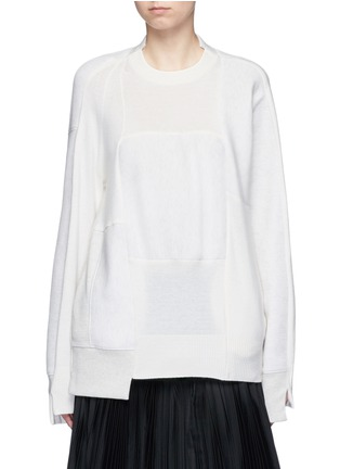 Main View - Click To Enlarge - Sacai - Wool-cashmere patchwork cotton blend sweatshirt