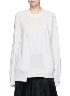 SacaiWool-cashmere patchwork cotton blend sweatshirt