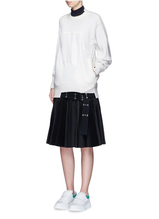 Figure View - Click To Enlarge - Sacai - Wool-cashmere patchwork cotton blend sweatshirt