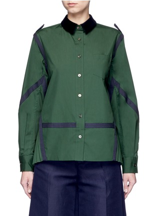 Main View - Click To Enlarge - Sacai - Side pleat webbing strap shirt