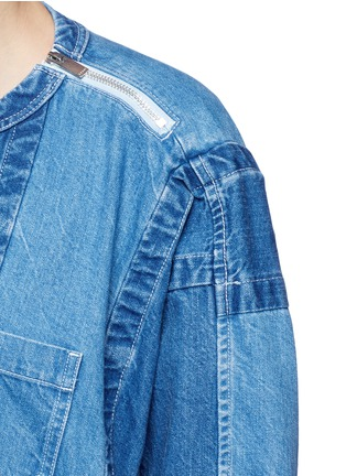 Detail View - Click To Enlarge - Sacai - 'Runway' raw edge denim patchwork top