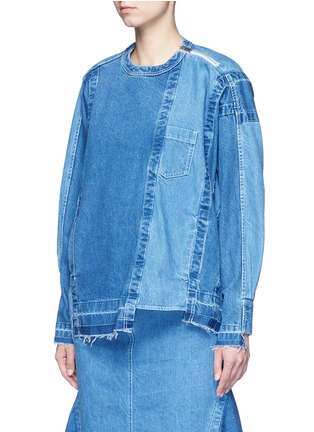 Front View - Click To Enlarge - Sacai - 'Runway' raw edge denim patchwork top