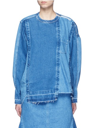 Main View - Click To Enlarge - Sacai - 'Runway' raw edge denim patchwork top