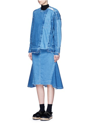 Figure View - Click To Enlarge - Sacai - 'Runway' raw edge denim patchwork top