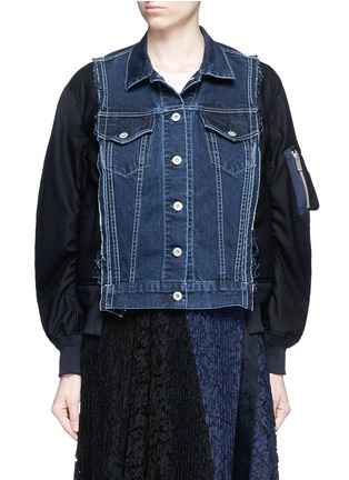 Main View - Click To Enlarge - Sacai - Denim front flannel jacket
