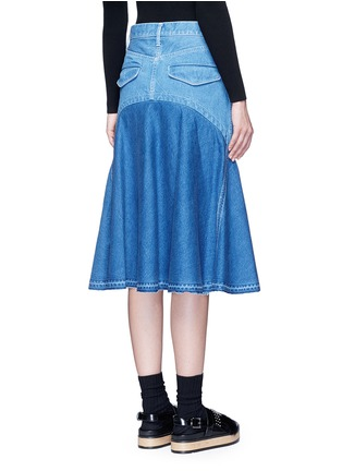 Back View - Click To Enlarge - Sacai - 'Runway' raw edge denim flare skirt