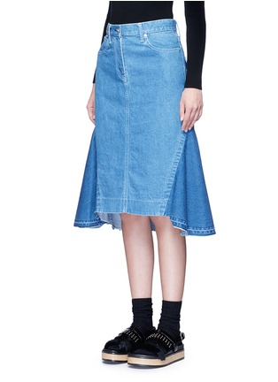 Front View - Click To Enlarge - Sacai - 'Runway' raw edge denim flare skirt