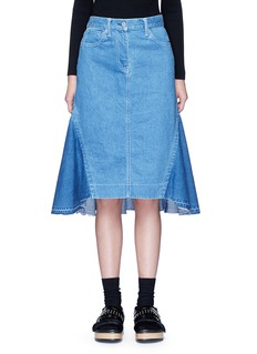 Sacai 'Runway' raw edge denim flare skirt