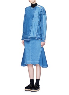 Sacai'Runway' raw edge denim flare skirt