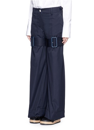 Front View - Click To Enlarge - Sacai - Strap gabardine flared pants