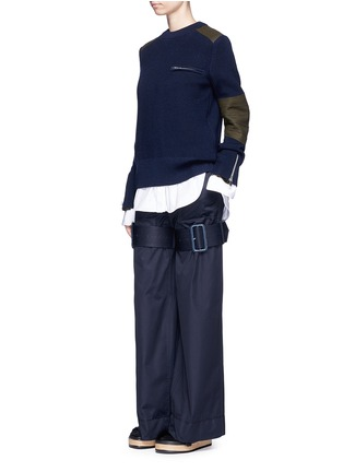 Figure View - Click To Enlarge - Sacai - Strap gabardine flared pants