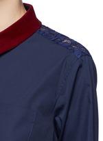 Guipure lace back velvet collar shirt