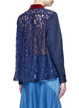 Sacai-Guipure lace back velvet collar shirt