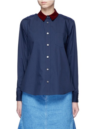 Main View - Click To Enlarge - Sacai - Guipure lace back velvet collar shirt