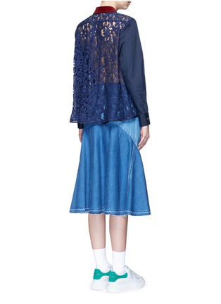 Figure View - Click To Enlarge - Sacai - Guipure lace back velvet collar shirt