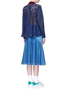 SacaiGuipure lace back velvet collar shirt