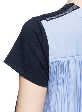 Detail View - Click To Enlarge - Sacai - Pleated colourblock back cotton T-shirt