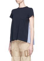 Pleated colourblock back cotton T-shirt