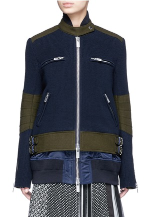 Sacai - Double layer rib knit and nylon biker jacket