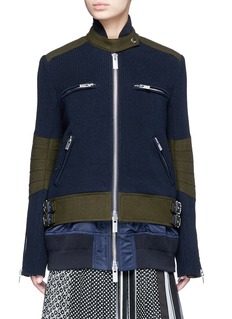 Sacai Double layer rib knit and nylon biker jacket