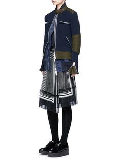 SacaiDouble layer rib knit and nylon biker jacket