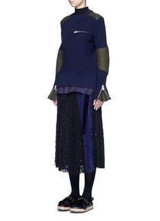 SacaiBack split rib knit sweater