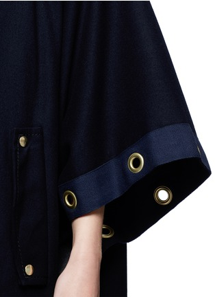 Detail View - Click To Enlarge - Sacai - Grommet trim belted wool poncho