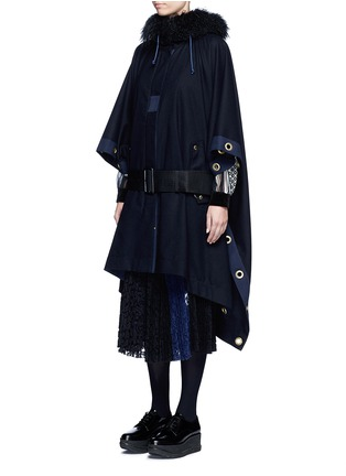 Front View - Click To Enlarge - Sacai - Grommet trim belted wool poncho