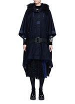 Grommet trim belted wool poncho
