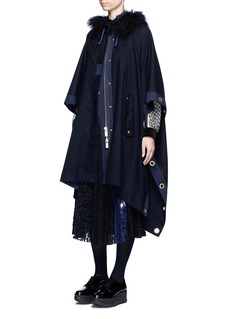 SacaiGrommet trim belted wool poncho