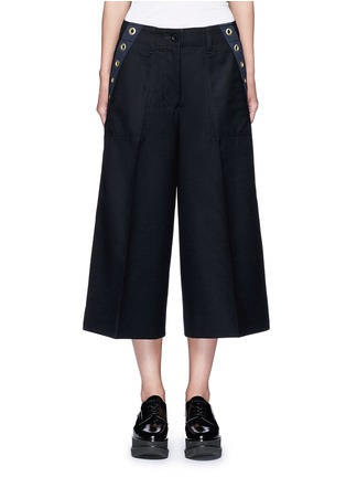 Main View - Click To Enlarge - Sacai - Grommet trim wool flannel culottes
