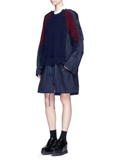 SacaiColourblock wool knit drawstring twill dress