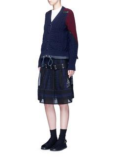 SacaiLace trim panelled wool drawstring cardigan