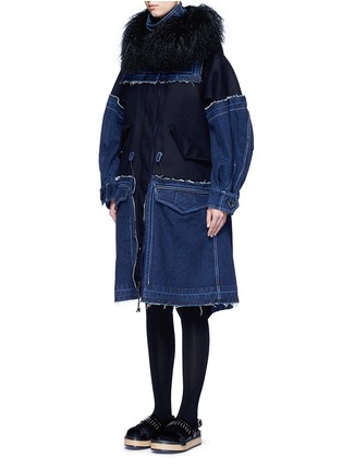 Front View - Click To Enlarge - Sacai - 'Runway' shearling denim patchwork military coat