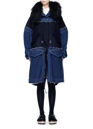 Sacai-'Runway' shearling denim patchwork military coat
