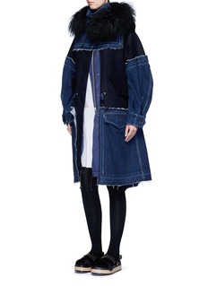 Sacai 'Runway' shearling denim patchwork military coat