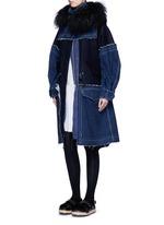 'Runway' shearling denim patchwork military coat