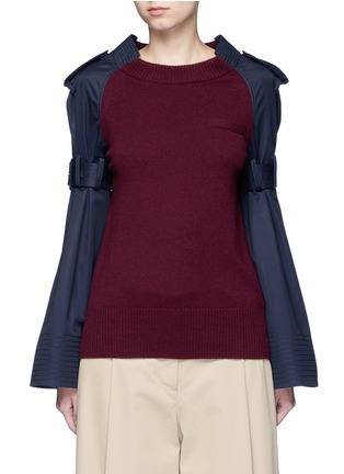 Sacai - Strap raglan sleeve wool top