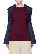 Strap raglan sleeve wool top