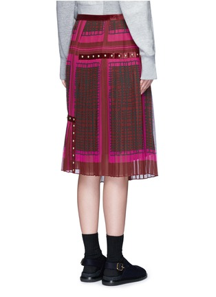 Back View - Click To Enlarge - Sacai - 'Runway' velvet stud trim geometric print plissé skirt