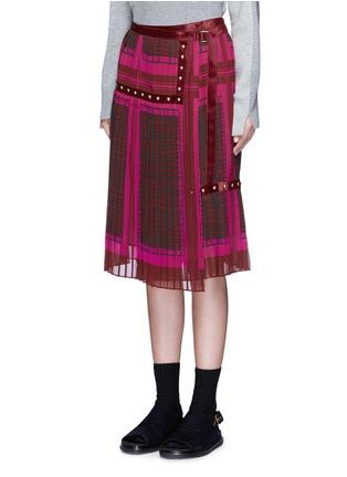 Front View - Click To Enlarge - Sacai - 'Runway' velvet stud trim geometric print plissé skirt