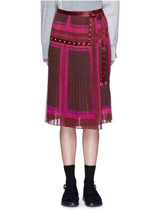 Main View - Click To Enlarge - Sacai - 'Runway' velvet stud trim geometric print plissé skirt