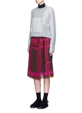 Figure View - Click To Enlarge - Sacai - 'Runway' velvet stud trim geometric print plissé skirt