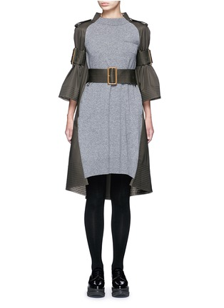 Main View - Click To Enlarge - Sacai - 'Runway' sleeve strap knit front top