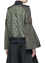 Sleeve strap quilted bomber jacket