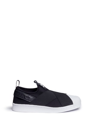 Main View - Click To Enlarge - Adidas - 'Superstar' crisscross band neoprene slip-ons